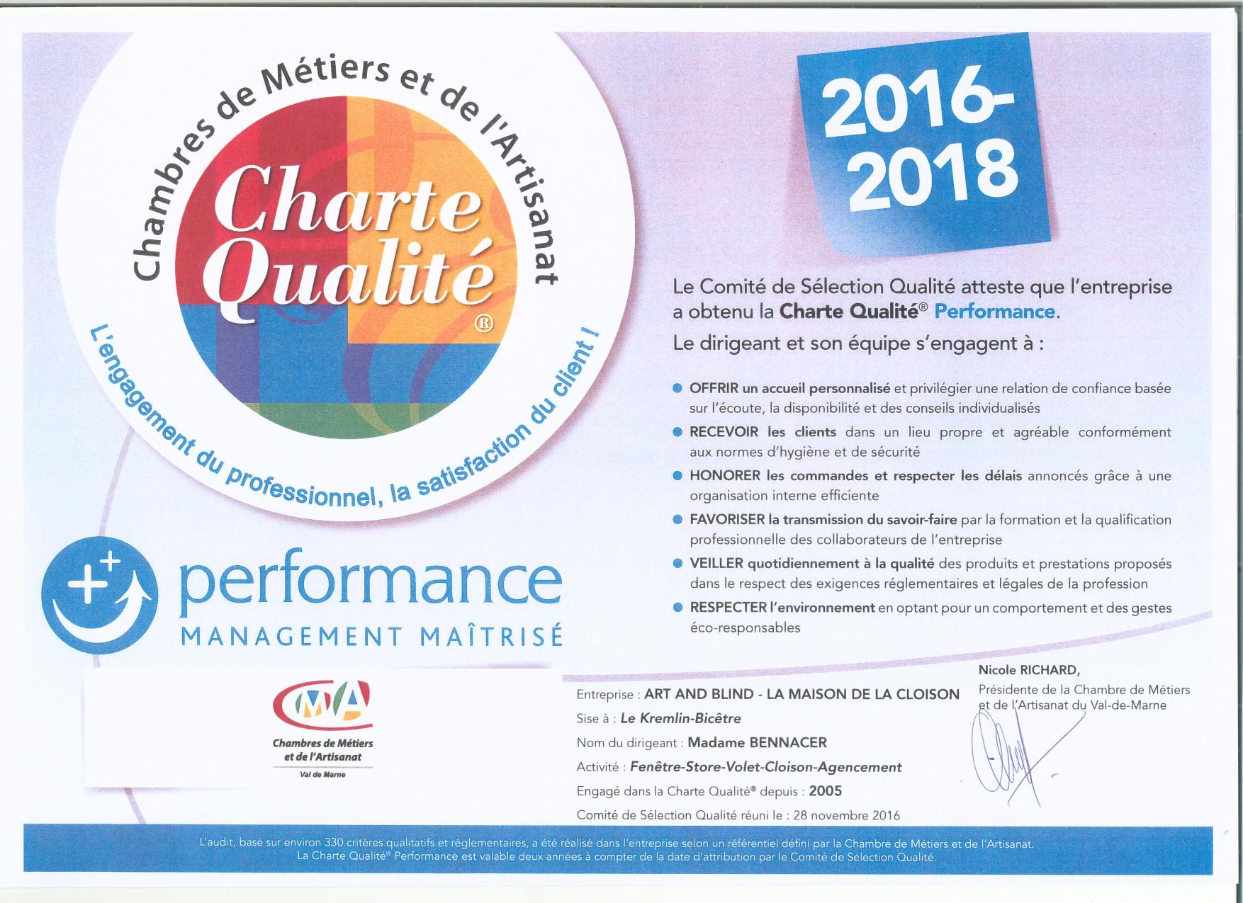 charte qualité Performance 2016-2018